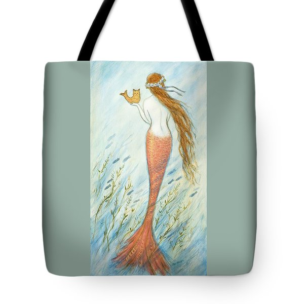 Mermaid And Her Catfish, Goldie Tote Bag