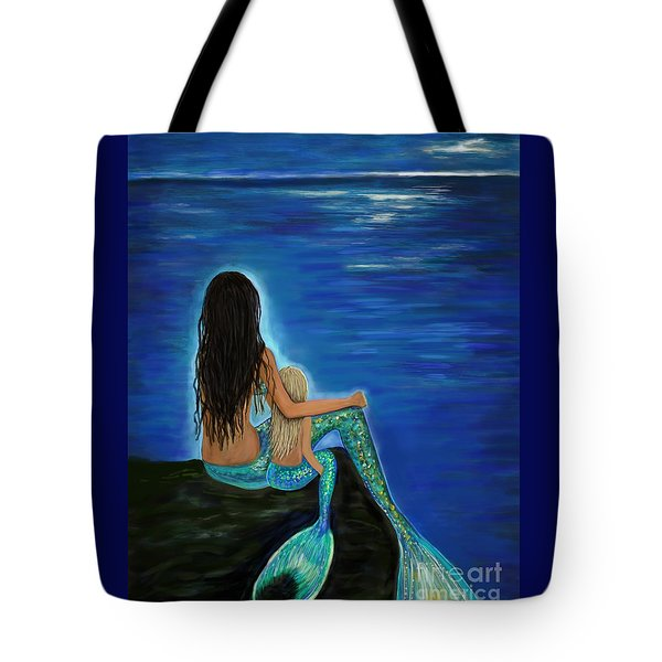 Tote Bag featuring the painting Mermaid And Her Daughter by Leslie Allen