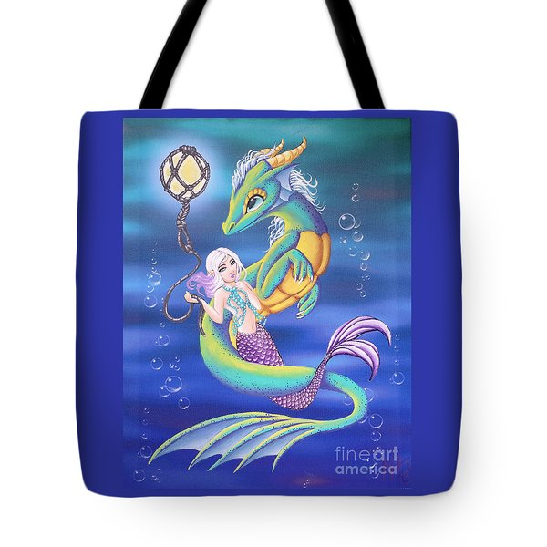 Tote Bag featuring the painting Mermaid And Sea Dragon by Mary Hoy