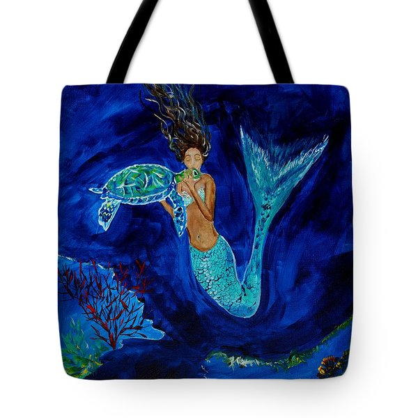 Mermaid And The Sea Turtle Tote Bag by Leslie Allen