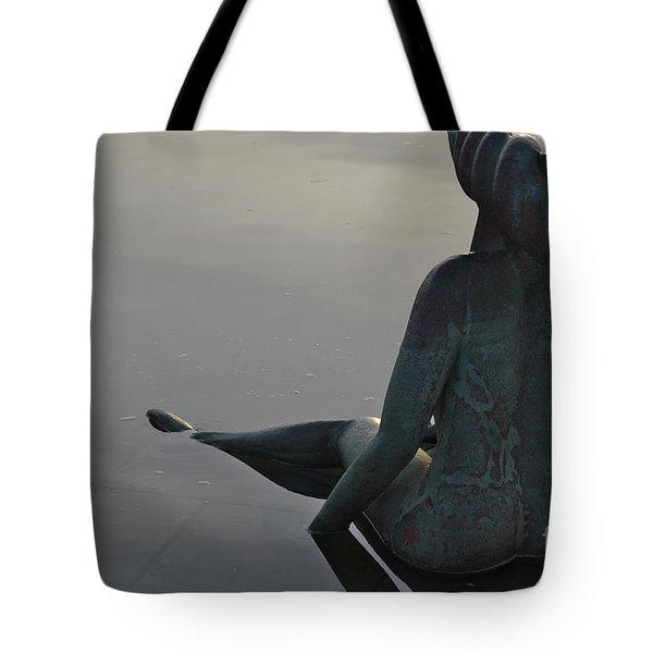 Mermaid Bronze Statue In The Faro Marina Tote Bag by Angelo DeVal