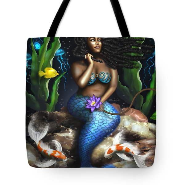 Tote Bag featuring the digital art Yemaya Mermaid  by Dedric Artlove W