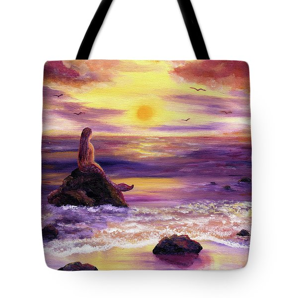 Mermaid In Purple Sunset Tote Bag