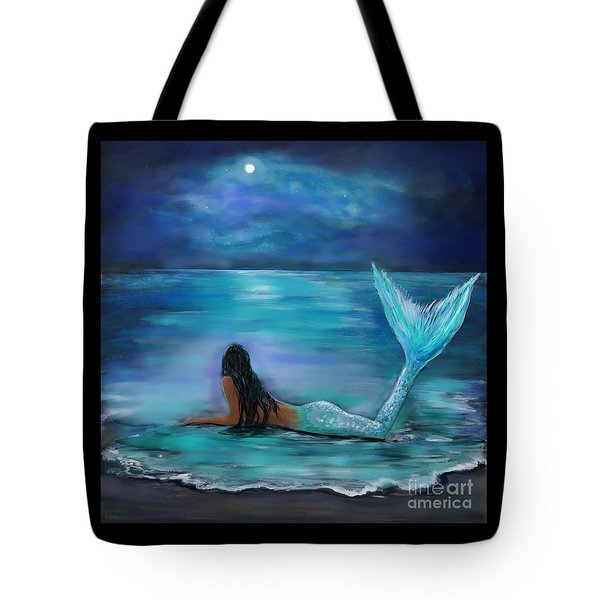 Mermaid Moon And Stars Tote Bag by Leslie Allen