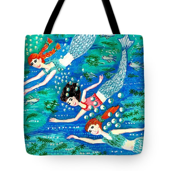 Mermaid Race Tote Bag by Sushila Burgess