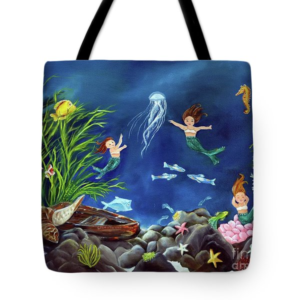 Tote Bag featuring the painting Mermaid Recess by Carol Sweetwood