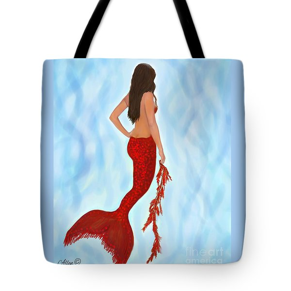 Tote Bag featuring the painting Mermaid Ruby by Leslie Allen