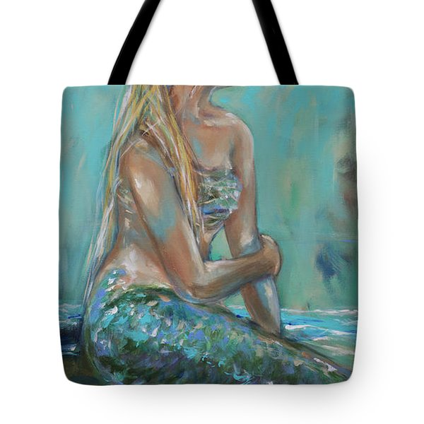 Mermaid Sunning On Shore Tote Bag
