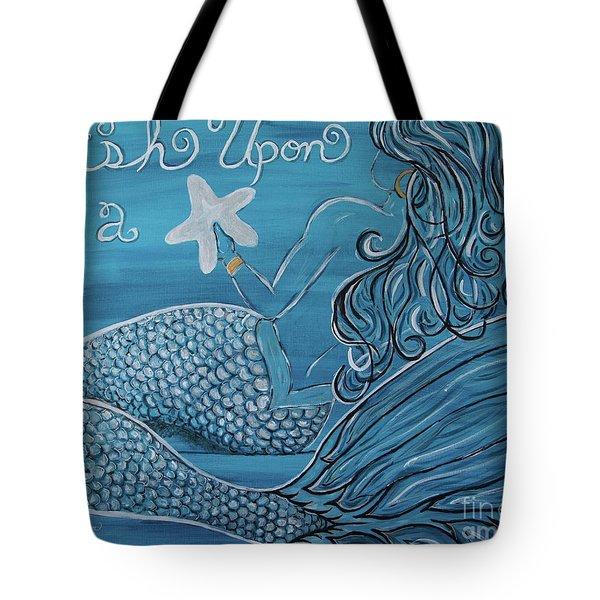 Mermaid- Wish Upon A Starfish Tote Bag by Megan Cohen