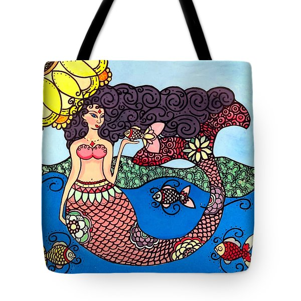 Mermaid With Fish Tote Bag