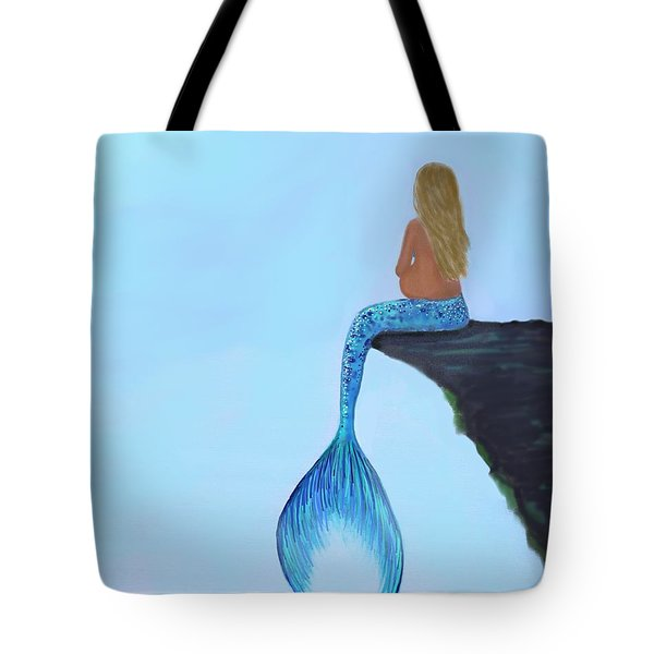 Tote Bag featuring the painting Mermaids Bundle To Be by Leslie Allen