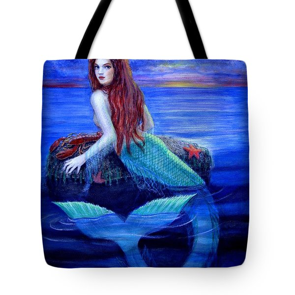 Tote Bag featuring the painting Mermaid's Dinner by Sue Halstenberg