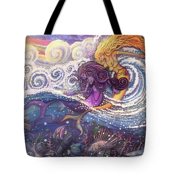Mermaids In The Surf Tote Bag