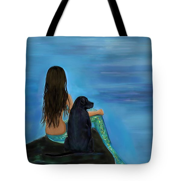 Tote Bag featuring the painting Mermaids Loyal Bud by Leslie Allen