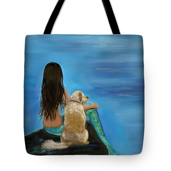 Tote Bag featuring the painting Mermaids Loyal Buddy by Leslie Allen