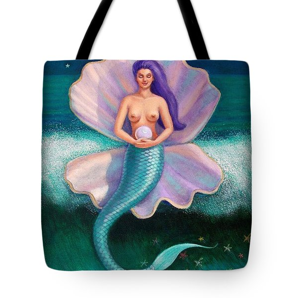 Tote Bag featuring the painting Mermaid's Pearl by Sue Halstenberg