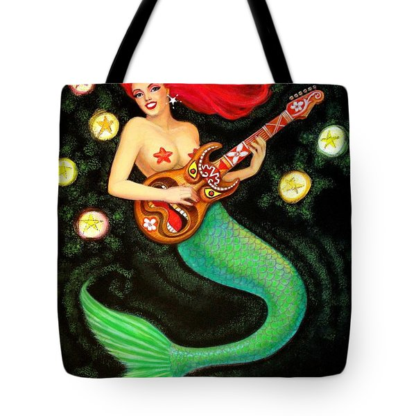 Tote Bag featuring the painting Mermaids Rock Tiki Guitar by Sue Halstenberg