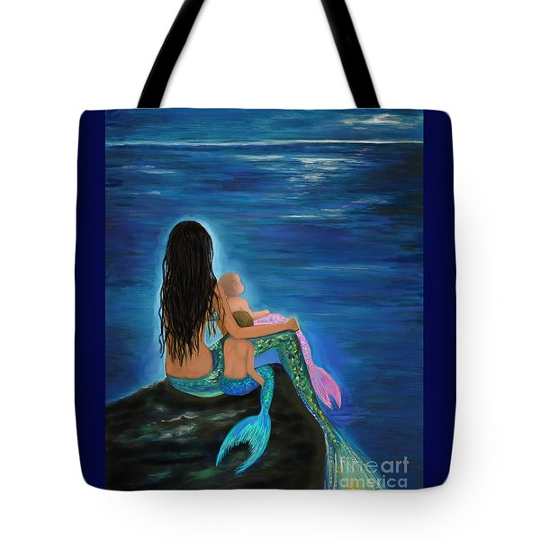 Tote Bag featuring the painting Mermaids Sweet Little Ones by Leslie Allen