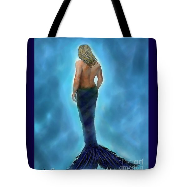 Tote Bag featuring the painting Merman Majestic by Leslie Allen