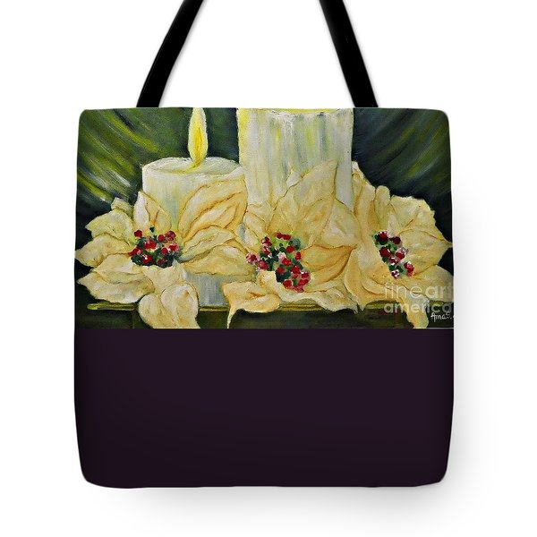 Our Lady And Child Jesus Tote Bag by AmaS Art