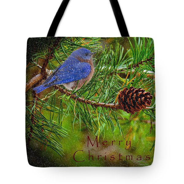Merry Christmas Card With Bluebird Tote Bag