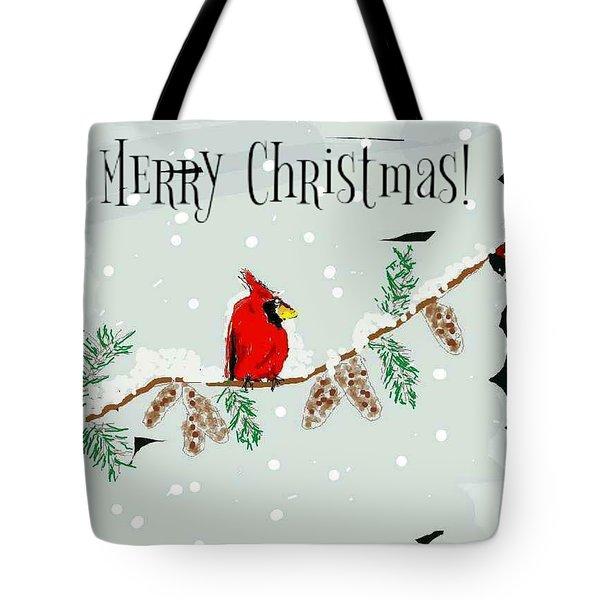 Merry Christmas Cardinal Tote Bag