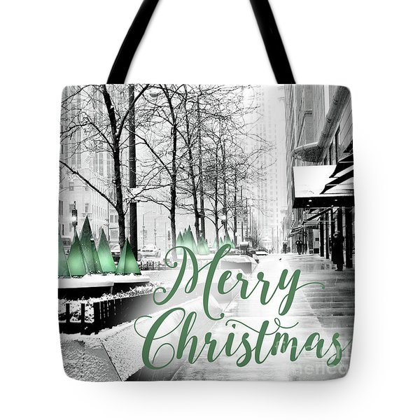 Merry Christmas Chicago Tote Bag
