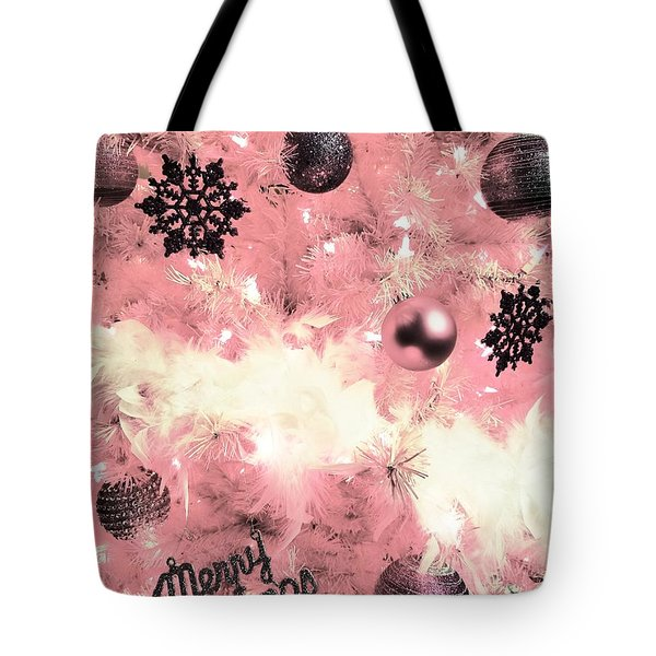 Merry Christmas In Pink Tote Bag