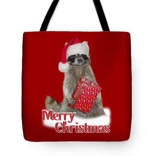 Merry Christmas -  Raccoon Tote Bag by Gravityx9 Designs
