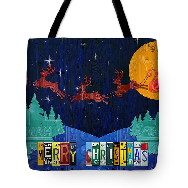Merry Christmas Santa And His Sleigh Recycled Vintage License Plate Art Tote Bag