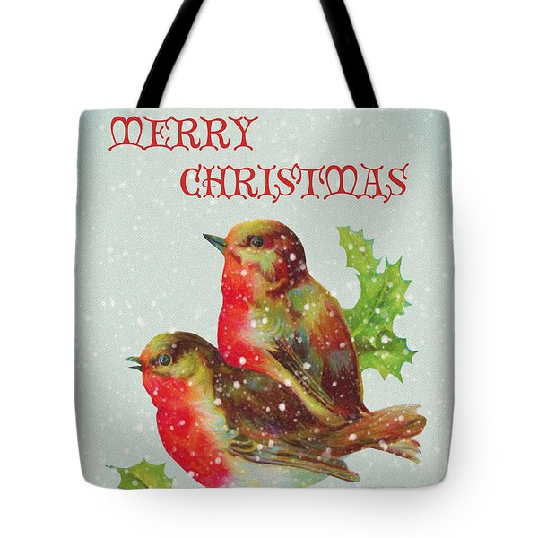 Merry Christmas Snowy Bird Couple Tote Bag