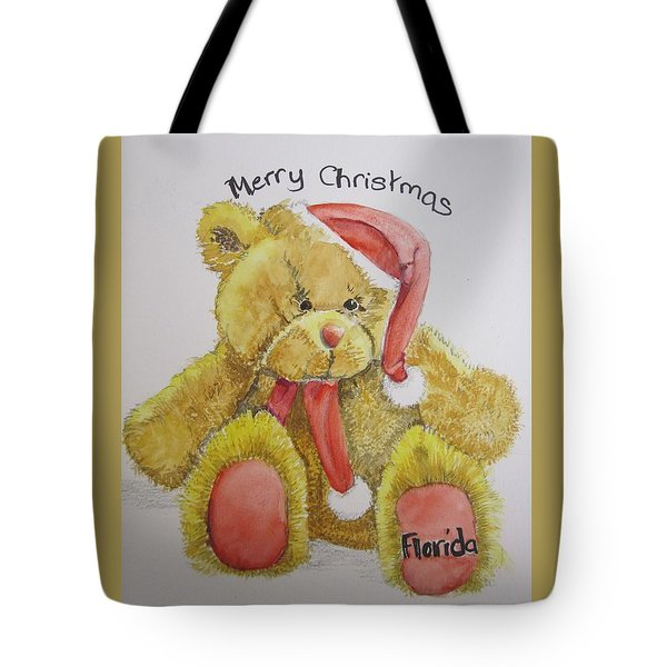 Merry Christmas Teddy  Tote Bag