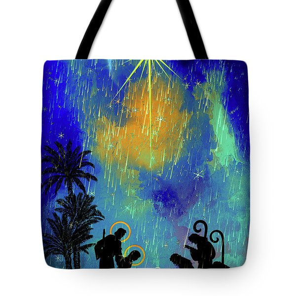 Tote Bag featuring the painting  Merry Christmas To All. by Andrzej Szczerski