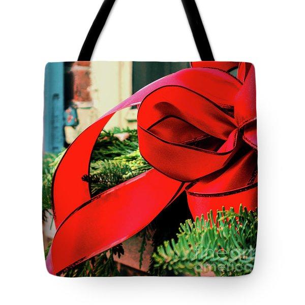 Merry Christmas Window Bow Tote Bag
