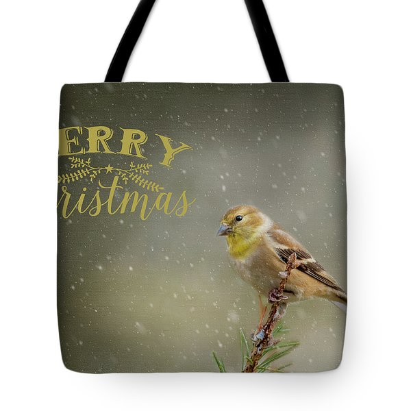 Merry Christmas Winter Goldfinch 1 Tote Bag