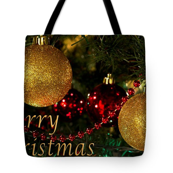 Merry Christmas With Gold Ball Ornaments Tote Bag by Maria Janicki