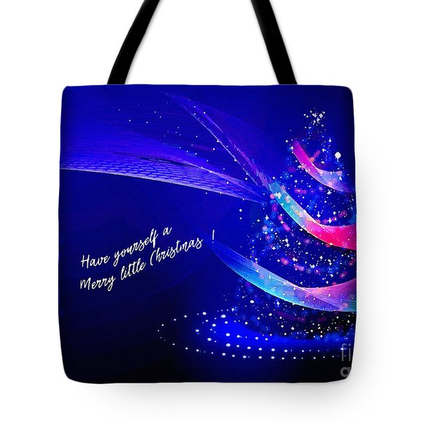 Tote Bag featuring the digital art Merry Little Christmas Card 2017 by Kathryn Strick