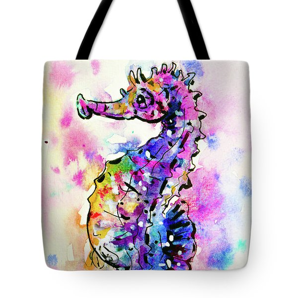 Tote Bag featuring the painting Merry Seahorse by Zaira Dzhaubaeva