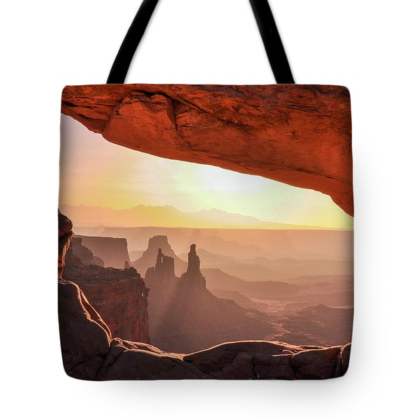 Mesa Arch At Sunrise, Washer Woman Formation , Canyonlands National Park, Utah Tote Bag