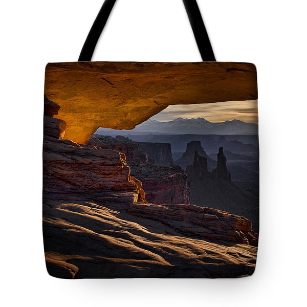Tote Bag featuring the photograph Mesa Arch Glow by Jaki Miller