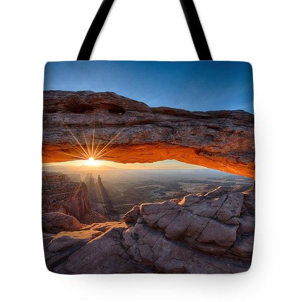 View Through The Mesa Arch At  Sunrise Tote Bag