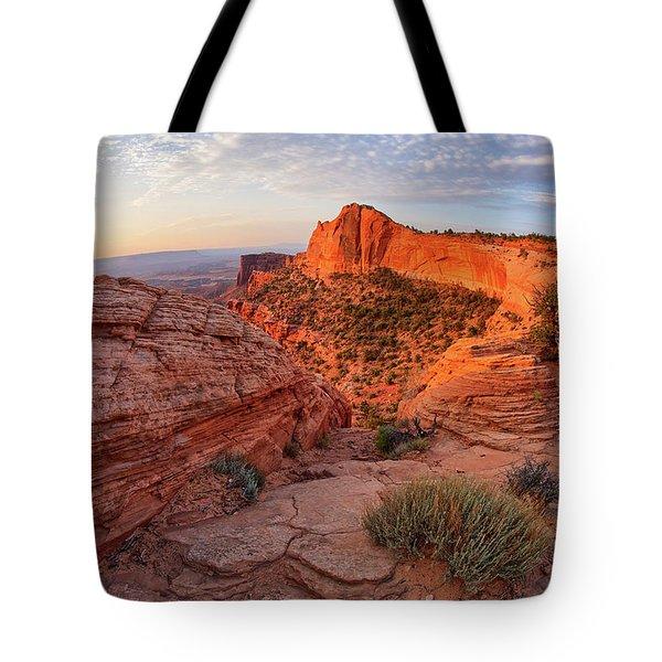 Mesa Arch Overlook At Dawn Tote Bag
