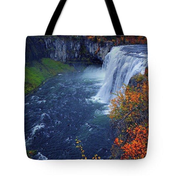 Mesa Falls In The Fall Tote Bag