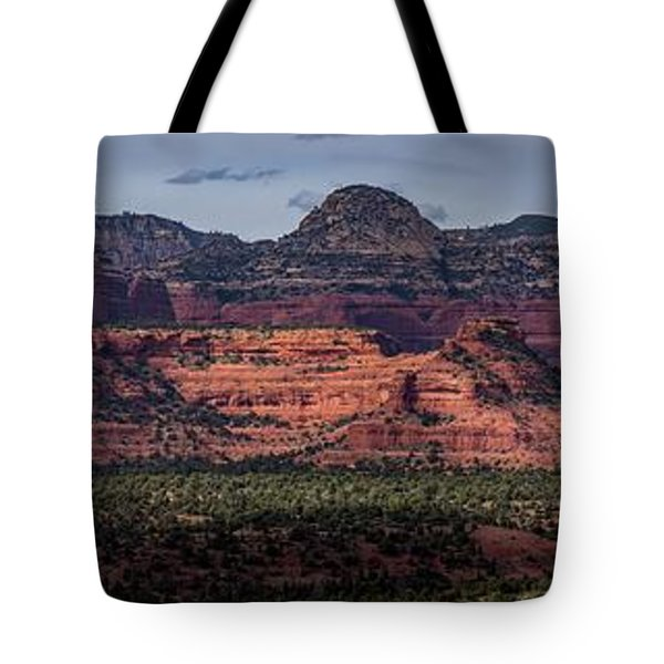 Tote Bag featuring the photograph Mescal Mountain Panorama by Andy Konieczny