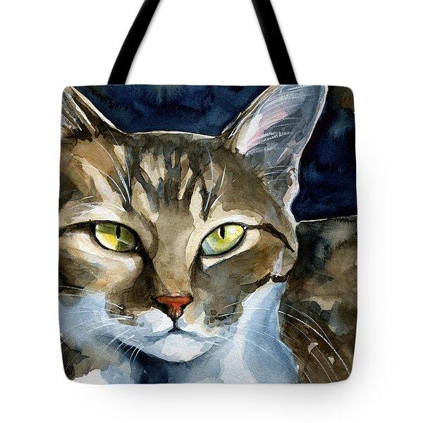 Mesmerizing Eyes - Tabby Cat Painting Tote Bag