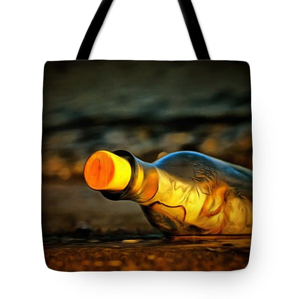 Tote Bag featuring the painting Message In A Bottle by Harry Warrick