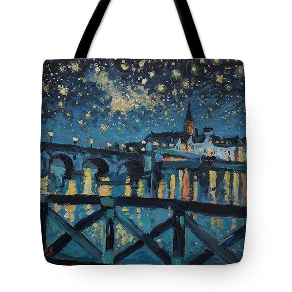 Mestreechter Staarenach Staryy Night Maastricht Tote Bag by Nop Briex