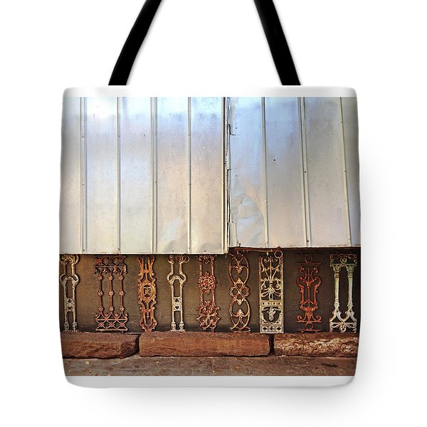 Metal And Ironwork With White Border Tote Bag