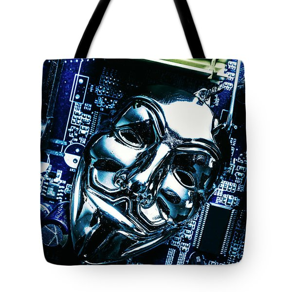 Metal Anonymous Mask On Motherboard Tote Bag by Jorgo Photography - Wall Art Gallery
