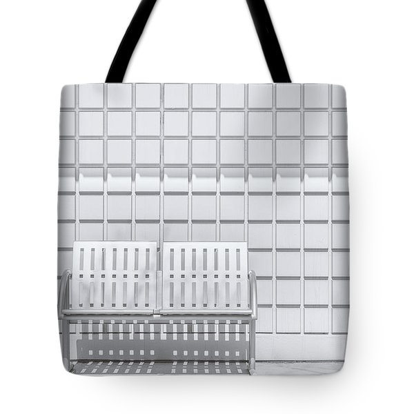 Metal Bench Against Concrete Squares Tote Bag
